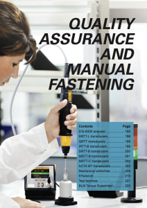 Quality assurance and manual fastening